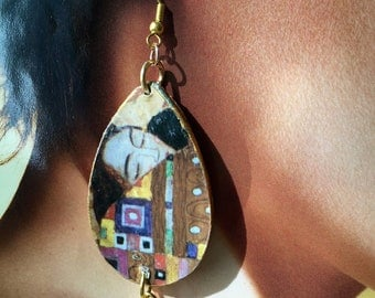 Gustav KLIMT, agate and paper earrings, hug, art, spring 2018