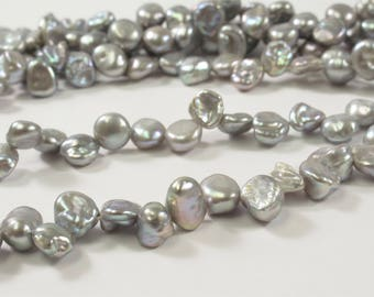 6 x 6-8 mm High Luster Silver Gray Keishi Freshwater Pearl Beads, Top Drilled Gray Keishi Pearls, Dancing Silver Pearl Beads (345-KGY0608)