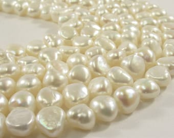 7-8 mm Natural White High Luster Rice Nugget Freshwater Pearl Beads, Genuine Natural White Cultured Freshwater Pearl Nuggets (570-NRW0708)