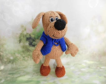 Stuffed animal dogs Personalized  Knitted  dog Toy Puppy  Amigurumi animal  Unique  toy  Present gift idea