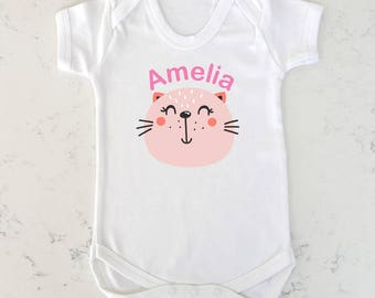 Personalised Kitty Baby Vest 0 To 24 Months