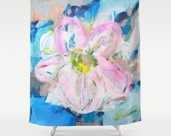 Floral Shower Curtain - Beach Shower Curtain - Tropical Shower Curtain - FREE Shipping