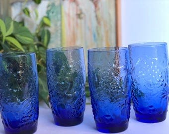 Vintage Blue Glass Tumblers, Grapes Water Glasses, Set of 4