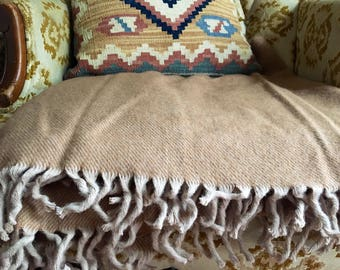 """Vintage Camel Throw Blanket with Fringe 48"""" x 60"""""""
