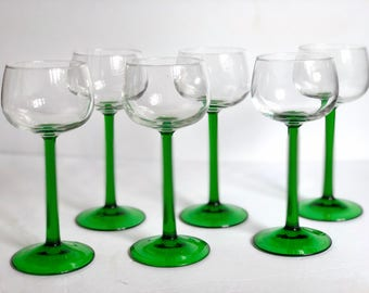 Vintage Green Stem Wine Glasses, Champagne Coupes