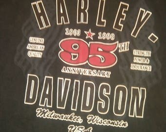 Vintage Genuine Harley Davidson Clothes 1903 1998 95th Anniversary Milwaukee WI USA T Shirt Black