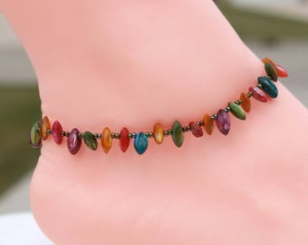 Gypsy girlfriend anklet, colorful anklet, gift for her, Easter gift