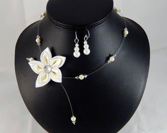 Parure Loane mariage ivoire et blanc fleur - personnalisable