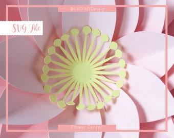 SVG Flower Center Template, Flower Center Shell Template, Paper Flower Template, DIY Center Flower, Cricut/Silhouette Ready