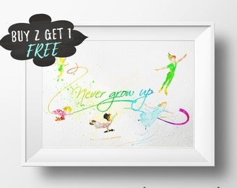 Peter Pan Quote Art Print Poster, Never Grow Up Wall Art Nursery Decor, Printable Watercolor Instant Download, Peter Pan Baby Shower