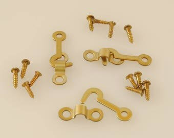 Solid Brass Hook and Staple Latch - 3 Sets