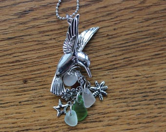Silver Hummingbird Car Charm