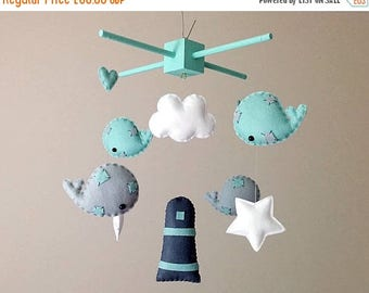 SALE Nautical Nursery Decor . Whale Baby Mobile . Mint And Grey Nursery Decor . Whale Nursery Decor . Mint Green Baby Boy Baby Shower Gift .