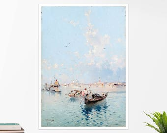 """F. Unterberger, """"View to Saint Marks Square, Venice"""". Art poster, art print, rolled canvas, art canvas, wall art, wall decor"""