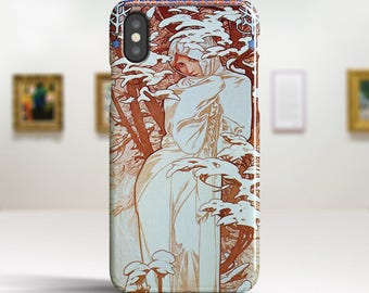 "Alphonse Mucha, ""Winter"". iPhone X Case Art iPhone 8 Case iPhone 7 Plus Case and more. iPhone X TOUGH cases. Art iphone cases."