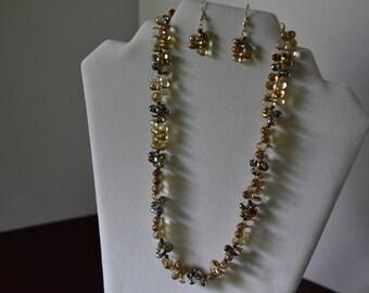 Vintage Teardrop Bead Necklace, Earrings