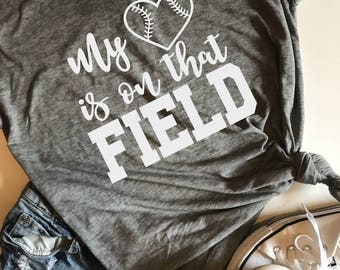 My heart is on that field baseball SVG, PDF, PNG, Dxf Design