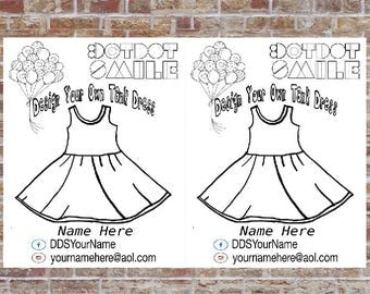 Tank Dress Coloring Page, 2 per page, Design a Dress, DotDotSmile, Marketing