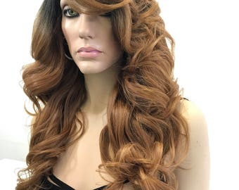 Ombré Strawberry Blonde Human Hair Blend Lace Part Full Wig - Jaclyn 622172