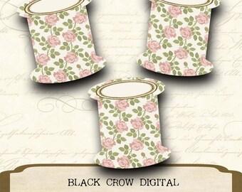 Floss Thread Bobbins Shabby Pink Roses Cross Stitch Floss Thread Storage Instant Download PDF Print & Use