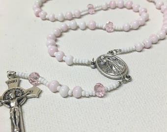 Pink Divine Mercy Catholic Rosary