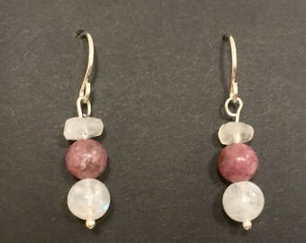 Rainbow Moonstone and Lepidolite Earrings with Sterling Silver