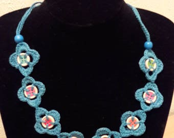 button and crochet  necklace