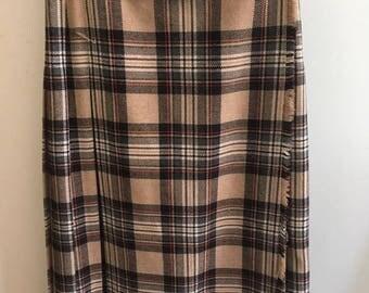Pleated tartan skirt (kilt style) in cream S - M