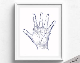 Palmistry Hand Print, Vintage Illustration, Palmistry Hand Diagram, Printable Art, Instant Download, Palmistry Printable
