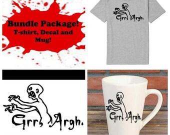 Grr Argh Buffy the Vampire Slayer Mutant Enemy Bundle Gift Package Unisex Shirt Decal Mug Horror Lover Decor Halloween Merch Massacre