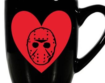 Friday the 13th Jason Voorhees Slasher Camp Killer Valentine's Day Love Heart Horror Mug Coffee Cup Gift Home Decor Kitchen Halloween Bar