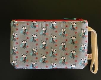 """Handmade small zipper purse for notions and accessories 8.5"""" x 5.5""""  *Gathering in the Woods*"""