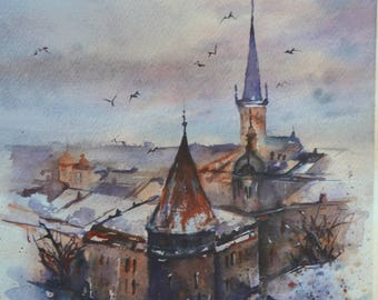 Original watercolor painting Tallinn Europe