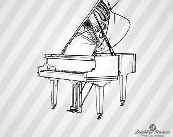 Grand Piano - Dxf Svg Ai Pdf Eps Rld RdWorks Png Jpg and Wmf Print Files, Digital Cut, Vector File, Svg File, Cricut Svg, Silhouette