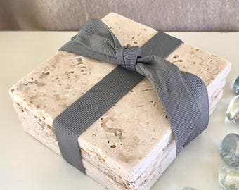 Stone coasters set of 4 Natural tumbled tile coasters. Cork backed. Hostess, housewarming, rustic, cottage, Coastal, beach decor, gift tag