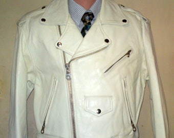 HOLLIES GREAT LOOK - New Motorcycle Biker Rock White Leather Jacket - Size S