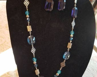 Blueberry Delight Necklace and Earring Set