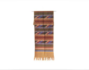 beige mexican table runner / ethnic textile / embroidery