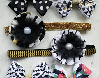 Black & Gold Girls Hair Bow