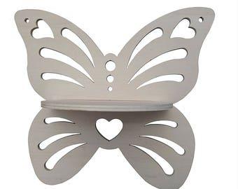 Butterfly shaped wall shelf to decorate, shabby DIY