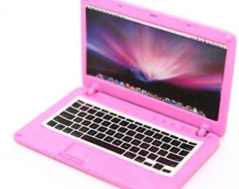 Dollhouse Miniature Pink Laptop