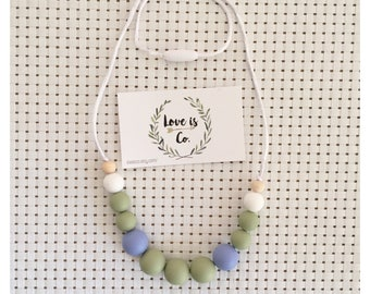 Olive Blues ~ silicone teething necklace