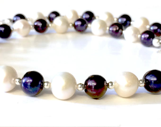 Purple/Black and White AAA Grade Freshwater Pearl Necklace