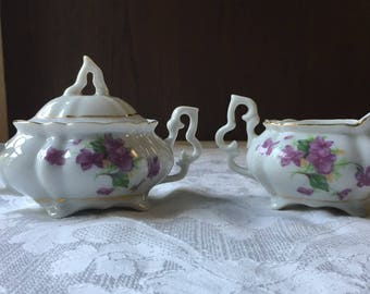 Vintage Lefton Mini Cream and Sugar with Gold Trim and Violets Floral