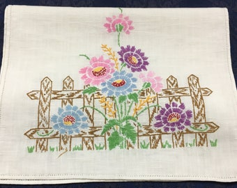 Vintage Table Runner Dresser Scarf with Pastel Flowers and a Brown Fence  R66