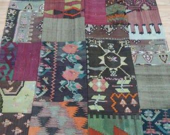 Turkish vintage patchwork kilim,Area Rug,Home decorative rug, Office decor, 135x188cm,Oushak floor patchwork rug,