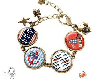 """Bracelet """" La mer """" cabochon bleu la plage bronze ancre marin rouge verre"""