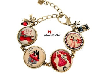 Bracelet Paris couture bijou rouge cadeau france fait main bronze-n-roses