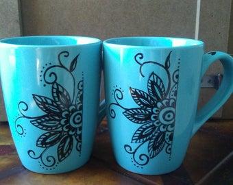 Zentangle and Mandala Mugs, various styles, hand painted