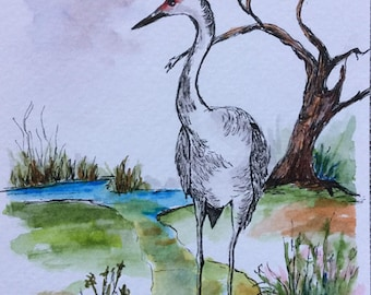 The Crane/Watercolor and Ink/Crane painting/Wildlife painting/Bird watercolor/Crane bird/5 x 7 painting/Nature scene/Bird art